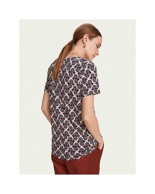 Maison Scotch Multicolor Cotton-blend Printed Short Sleeve Crew Neck T-shirt