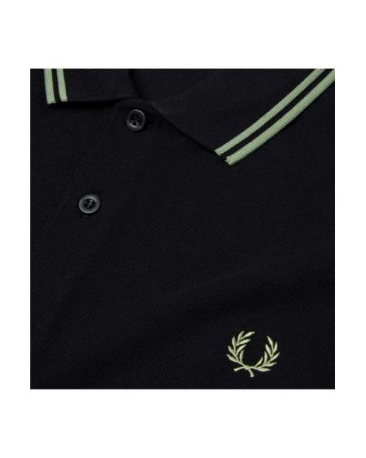 ecd6a190b Fred Perry M3600 Black Pale Olive Polo Shirt in Black for Men - Lyst
