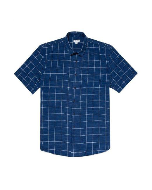 Chemise SS Linen Blue Check Sunspel pour homme