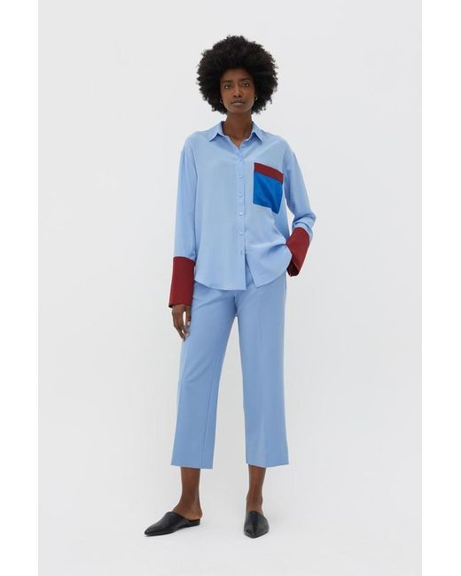 Chinti & Parker Camisa color block en azul cielo de mujer ps174