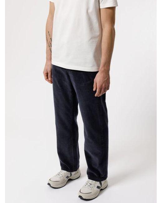 Jeans dritti neri in cotone organico Lazy Leo Cord Navy di Nudie Jeans in Blue da Uomo