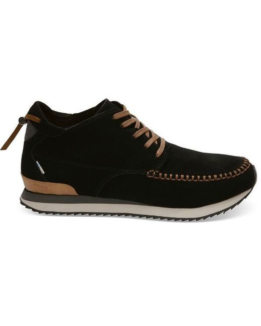 TOMS Black Suede Balboa Mid Sneaker for men