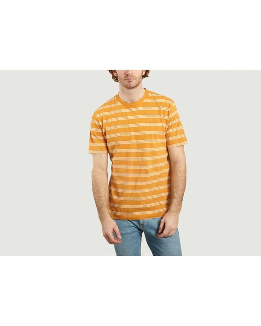 T Shirt Johannes In Cotone E Lino A Righe di Norse Projects in Multicolor da Uomo