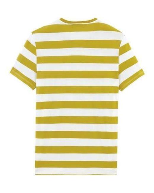 Petit Bateau Yellow Mens Stripe With Pocket Tshirt for men