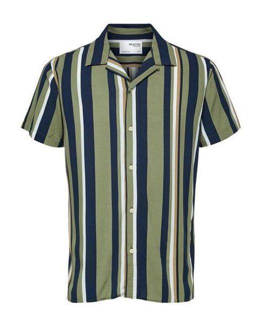 Camisa Michael Striped Resort SELECTED de hombre de color Blue