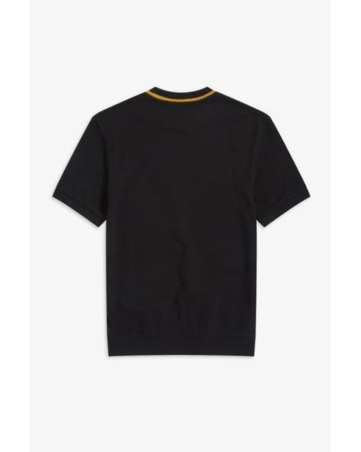 713706976 Fred Perry Reissues - Black & Gold M5 Crew Neck Pique T Shirt for Men ...