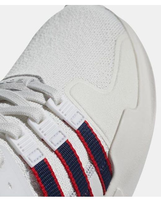 new product af2a9 47d27 Men's White And Navy Leather Originals Eqt Support Adv Shoes