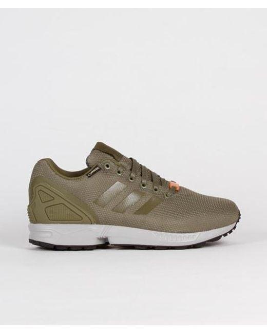 save off 6518c a1819 Men's Green Olive Nylon And Gore Tex Originals Zx Flux Gtx Shoes