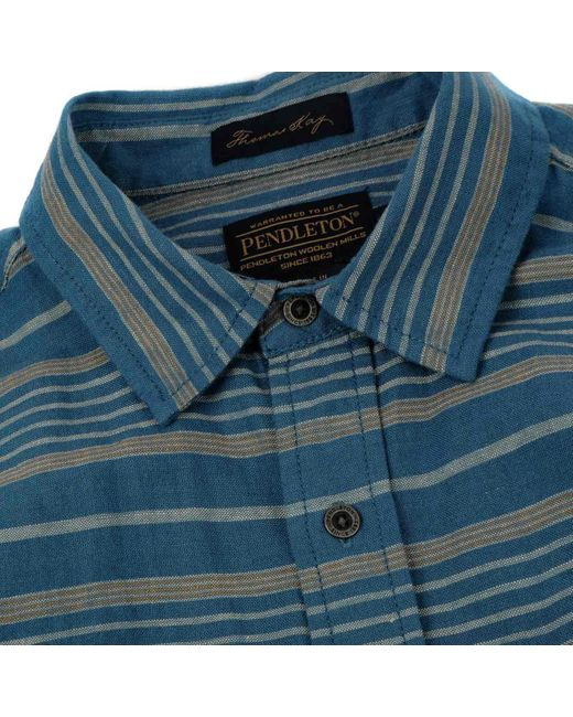 Pendleton Kay Street Print tailliertes Hemd Navy Cream Stripe S. in Blue für Herren