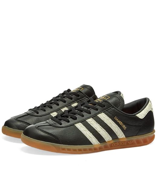 adidas Leather Hamburg Trainers in White (Black) for Men - Save 64 ...