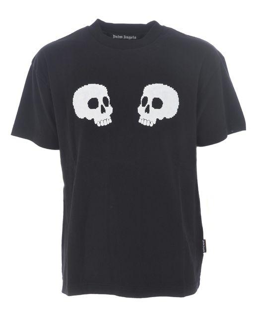 """T-shirt """"skulls"""" di Palm Angels in Black da Uomo"""