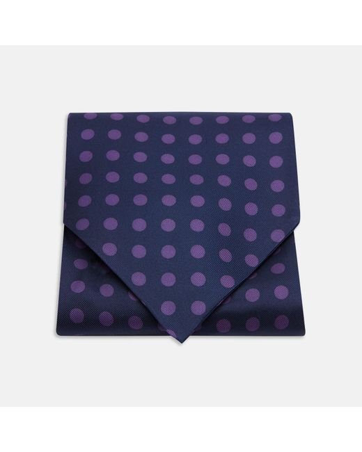 Turnbull & Asser | Blue Navy And Purple Large Spot Silk Ascot Tie for Men | Lyst