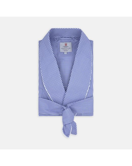 Turnbull & Asser Mid Blue Gingham Check Piped Cotton Gown for men