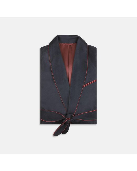Turnbull & Asser Blue Navy And Red Piped Cashmere Gown for men