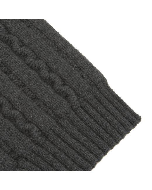 b411b826f071b ... Turnbull & Asser - Gray Dark Grey Cable Knit Cashmere Scarf for Men -  Lyst