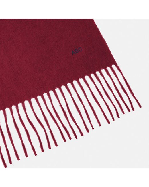 Turnbull & Asser Red Monogrammed Bordeaux Pure Cashmere Scarf for men