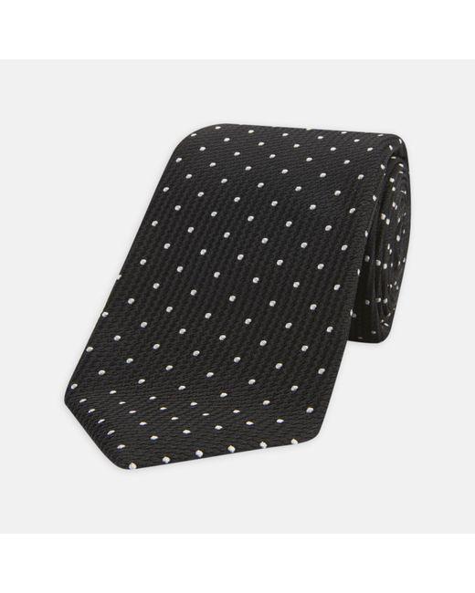 Turnbull & Asser - Seven-fold Black And White Spot Lace Silk Tie for Men - Lyst