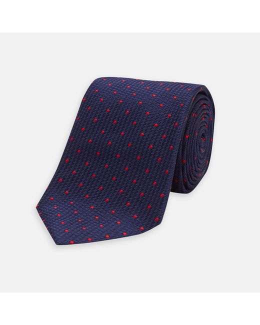 Turnbull & Asser - Blue Navy And Red Spot Lace Silk Tie for Men - Lyst