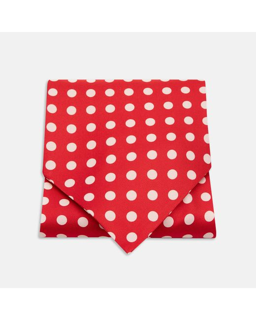 Turnbull & Asser   Red And White Large Spot Silk Ascot Tie for Men   Lyst