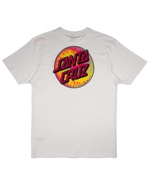 Santa Cruz White Tie Dye Classic Dot T-shirt for men