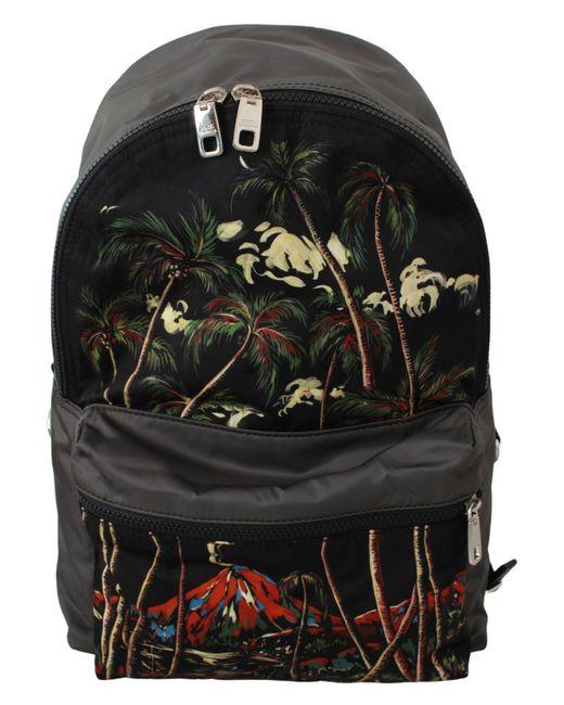 Dolce & Gabbana Black Trees Volcano Print School Backpack Nylon Bag