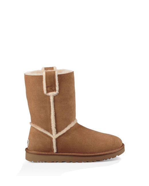Ugg Brown Classic Short Spill Seam Boot