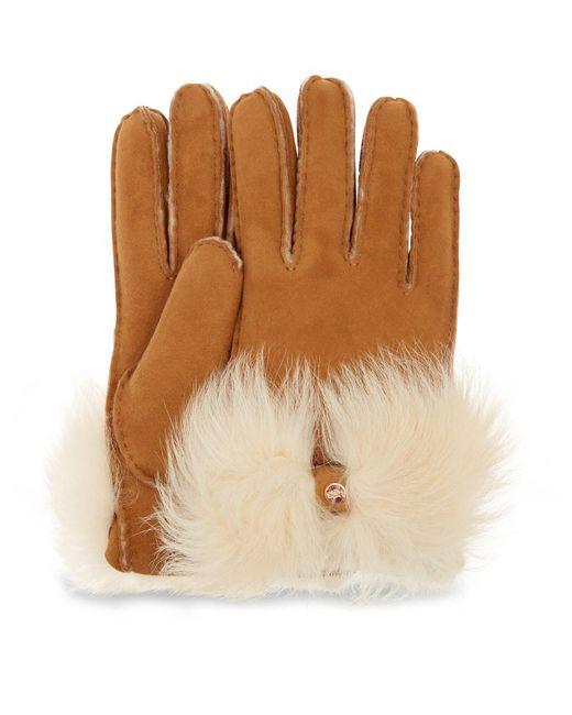 Ugg Long Pile Bow Handschoenen in het Brown