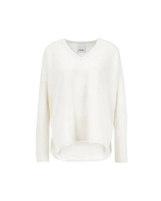 Allude Multicolor Cashmere-Pullover mit V-Ausschnitt Weiß