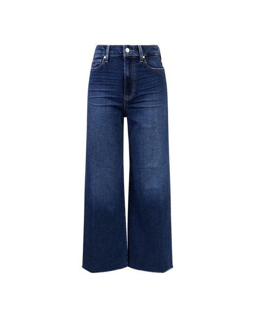 PAIGE Blue Wide Leg Jeans 'Anessa' Mittelblau
