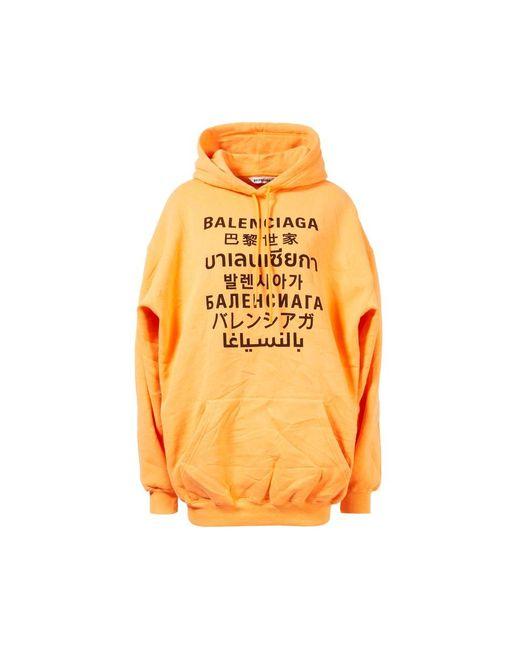Balenciaga Hoodie mit Logo-Print Orange