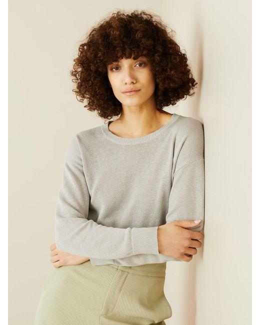 Iris Von Arnim Gray Leinen-Seiden-Pullover 'Nubia' Grau