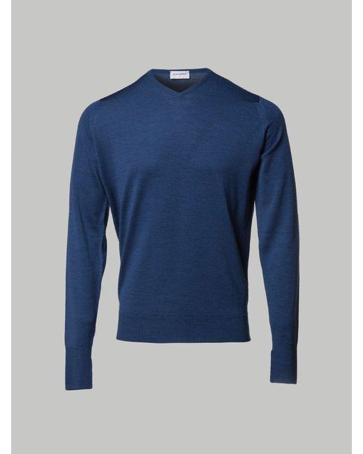 John Smedley - Blue Bower High Vee Neck Knit for Men - Lyst