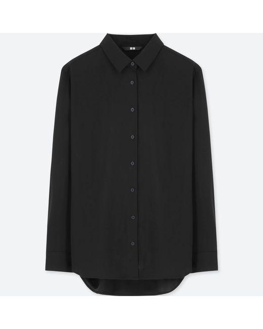 Uniqlo   Black Women Rayon Long-sleeve Blouse   Lyst
