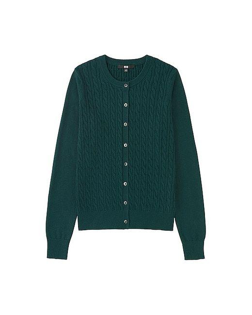 9982c9114e1 Uniqlo Cotton Cashmere Cable Cardigan in Green (DARK GREEN .