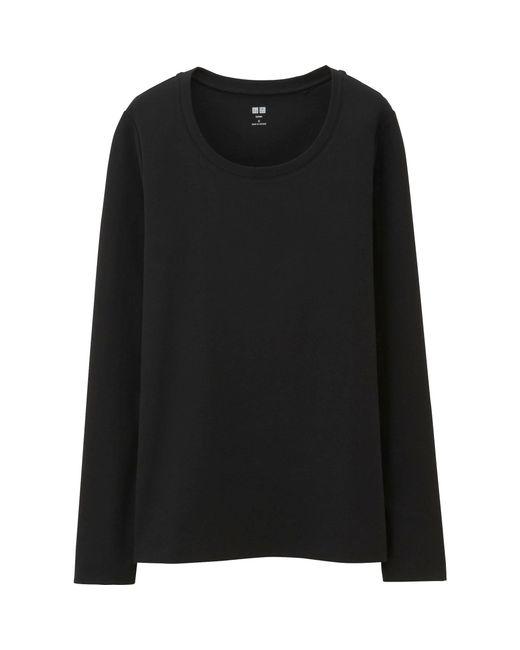 Uniqlo   Black Women Supima® Cotton Crewneck Long Sleeve T-shirt   Lyst