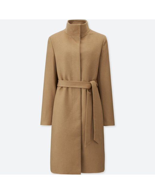 Uniqlo | Natural Women Cashmere Blended Stand Collar Coat | Lyst