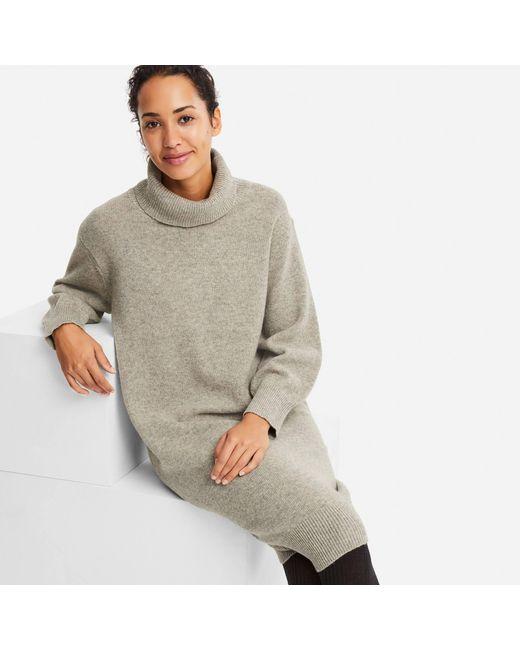 Uniqlo - Gray Women Premium Lambswool Turtleneck Long-sleeve Dress - Lyst