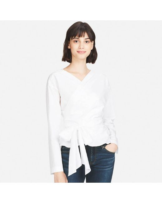 Uniqlo | White Women Extra Fine Cotton Cache-coeur Long-sleeve Blouse | Lyst