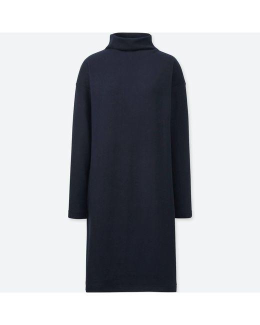 Uniqlo - Blue Women Soft Knitted Fleece Long-sleeve Dress - Lyst