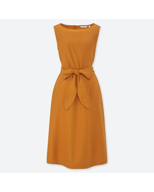 cbb5e833c2 Lyst - Uniqlo Linen Blend A-line Sleeveless Dress in Yellow