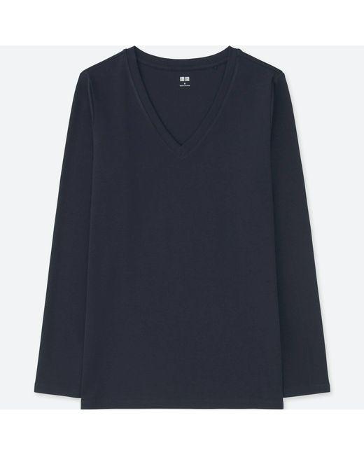 Uniqlo - Blue Women Compact Cotton V-neck Long-sleeve T-shirt - Lyst