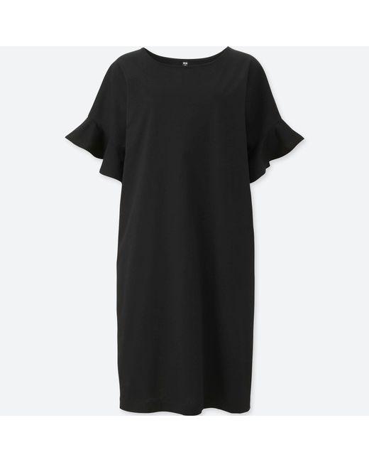 Uniqlo - Black Women Mercerized Cotton Frill Short-sleeve Dress - Lyst