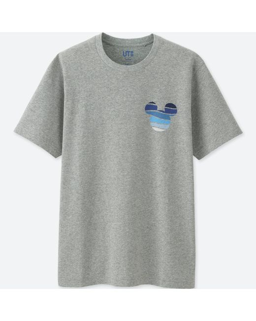 Uniqlo | Gray Men Mickey Blue Short Sleeve Graphic T-shirt for Men | Lyst