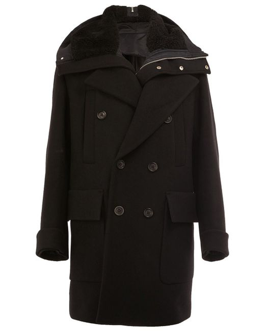 Juun.J | Black Shearling Hooded Coat for Men | Lyst