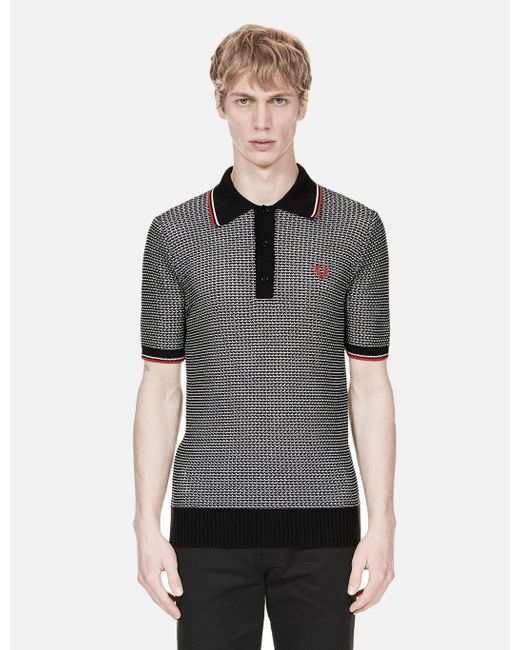 657221f5 Fred Perry - Black Re-issues Texture Knit Polo Shirt for Men - Lyst ...