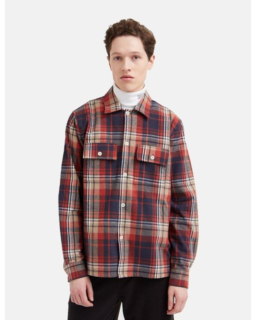 WOOD WOOD Red Franco Flannel Shirt for men