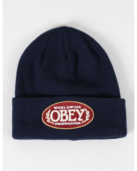 Obey | Blue Smokie Beanie Hat for Men | Lyst