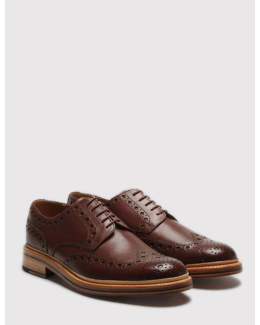 GRENSON Brown Archie Calf Brogue Shoes for men