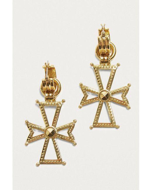 Luv Aj   Metallic Mattan Cross Hoop Earrings   Lyst