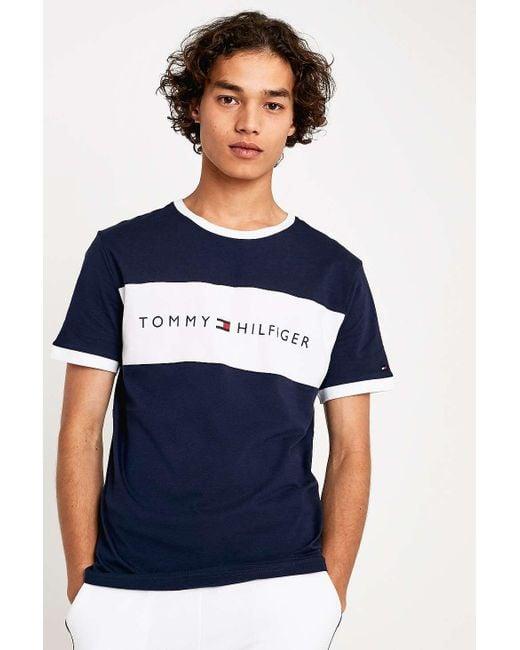 b83446ed Tommy Hilfiger Flag Logo Navy T-shirt - Mens S in Blue for Men - Lyst